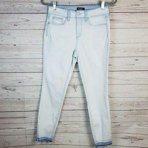 NYDJ Light Wash Ami Skinny Ankle Raw Hem Jeans